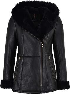 Ladies B3 Flying Sheepskin Shearling Jacket Black Fur Hooded NV-39
