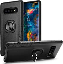 Galaxy S10 Plus Case,SQMCase Hybrid Dual Layer Cortex Texture Non-Slip Protective Case with 360 Degree Rotation Finger Ring Grip Holder [Work with Magnetic Car Mount] for Galaxy S10 Plus 6.4,Black