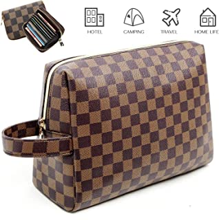 Fairy Rose Checkered MakeUp Bag with Credit Card Wallet,Shell Shape Cosmetic Bags PU Vegan Leather Cosmetic toiletry Travel bag Gifts Best Mother's Day Gift for Women,Girlfriend