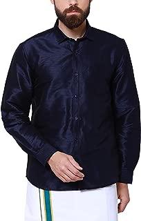 SVANIK Navy Blue Blended Solid Shirt