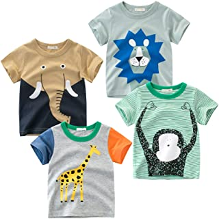 TABNIX Boys' 4-Pack Excavator Short Sleeve Crewneck T-Shirts Top Tee Size 2-7 Years Toddler Boys' Value Pack Cotton T-Shirt