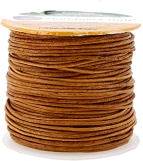 Mandala Crafts Round Cowhide Genuine Leather String Cord, Natural Rawhide Rope for Jewelry Making, Kumihimo Braiding, Shoelaces (1mm, Rust)
