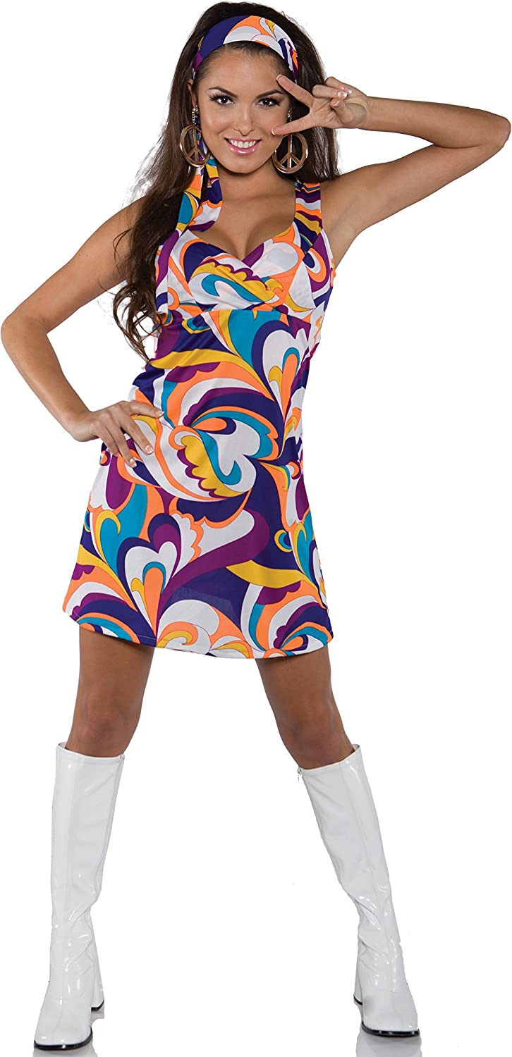 Ladies 60s Singer Fancy Dress Womens Hippy Party Costume Disco Dance Outfit