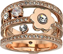 Michael Kors In Full Bloom Floral and Crystal Accent Stacked Ring