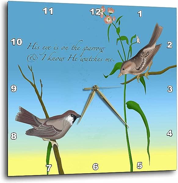 3dRose DPP 184179 1 他的眼睛在麻雀福音赞美诗上,用两只麻雀挂钟 10 乘 10 英寸来说明