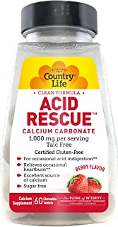 Country Life Acid Rescue Chewable Tablets, 90g Digestive Aid & Enzymes for Heartburn Relief, Acid Reducer with Magnesium & Calcium, Berry Flavor, 60 Count