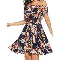 Elesol Womens Flower Print Off Shoulder Ruffle A Line Beach Dress