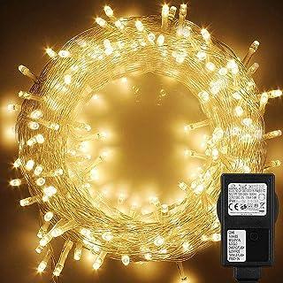 WOWDSGN Guirlande lumineuse 200 LED 20m+5m, Guirlande lumineuse intérieur et extérieur, Lumineuse Blanc chaud Led, 8 modes...