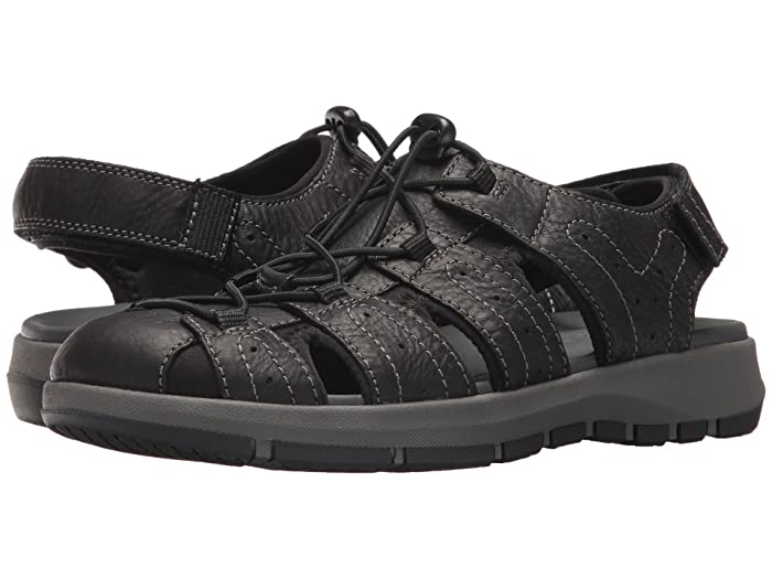 Clarks  Brixby Cove (Black Leather) Mens Sandals