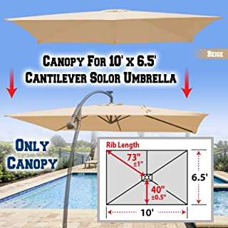 BenefitUSA Replacement Canopy Cover for 10' X 6.5' Cantilever Patio Umbrella Offest Parasol Top Replacement (Beige)