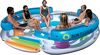 Sun Pleasure Tropical Tahiti Floating Island, Giant Float and Carrying Bag - use in Lake, Ocean, River, Pool Floats for up to 6 People Pump Not Included