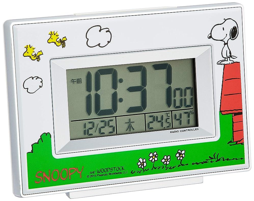 私達口憤るSNOOPY (スヌーピー) 目覚まし時計 キャラクター 電波 デジタル R187 温度 湿度 曜日 カレンダー 表示 白 リズム時計 8RZ187-M03
