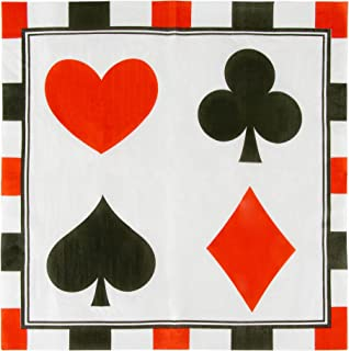 Cocktail Napkins - 150-Pack Luncheon Napkins, Disposable Paper Napkins Casino Party Supplies, 2-Ply, Poker Design, Unfolded 13 x 13 Inches, Folded 6.5 x 6.5 Inches