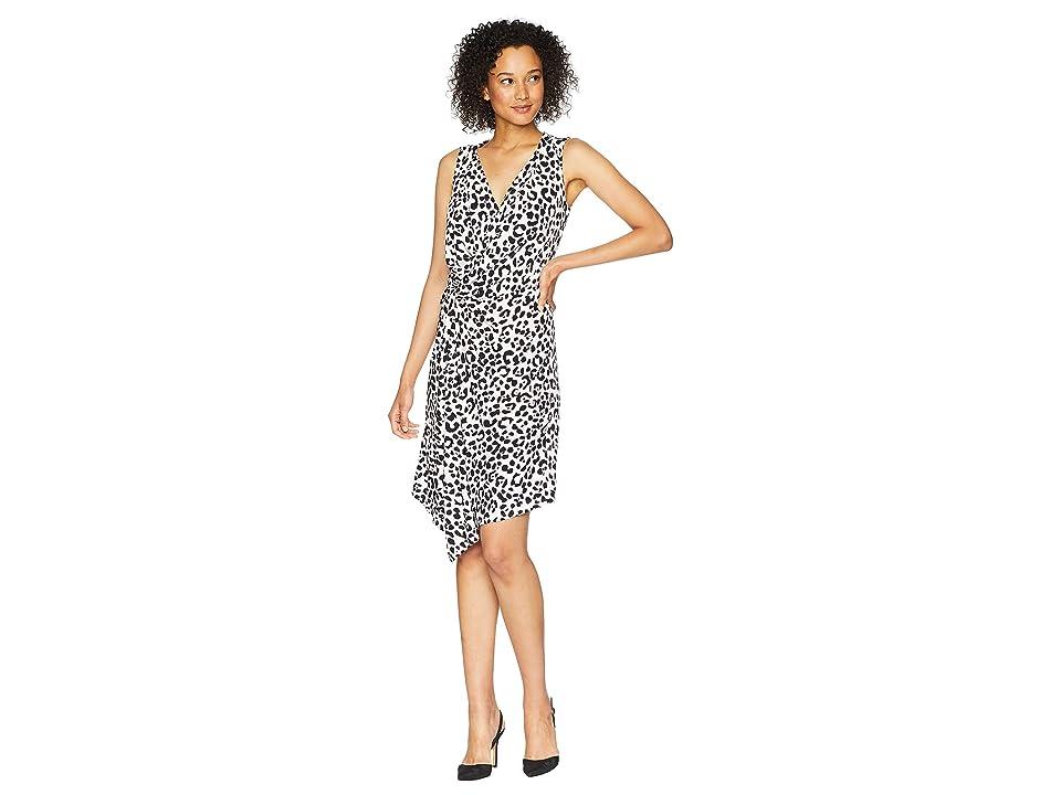 Ellen Tracy Twisted Front Sleeveless Dress (Bali Leopard/Wisteria) Women