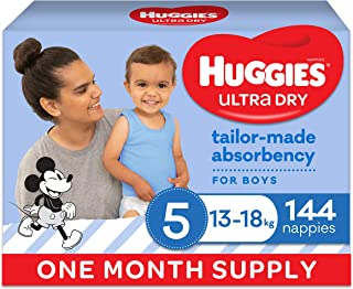 Huggies Ultra Dry Nappies Boy Size 5 (13-18kg) 1 Month Supply 144 Count