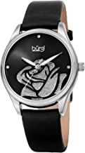 Burgi Women's Diamond Accented Flower Watch - Rose Cut-Out Dial with Glitter Powder with 4 Diamond Hour Markers On Satin Leather Strap Watch - BUR189