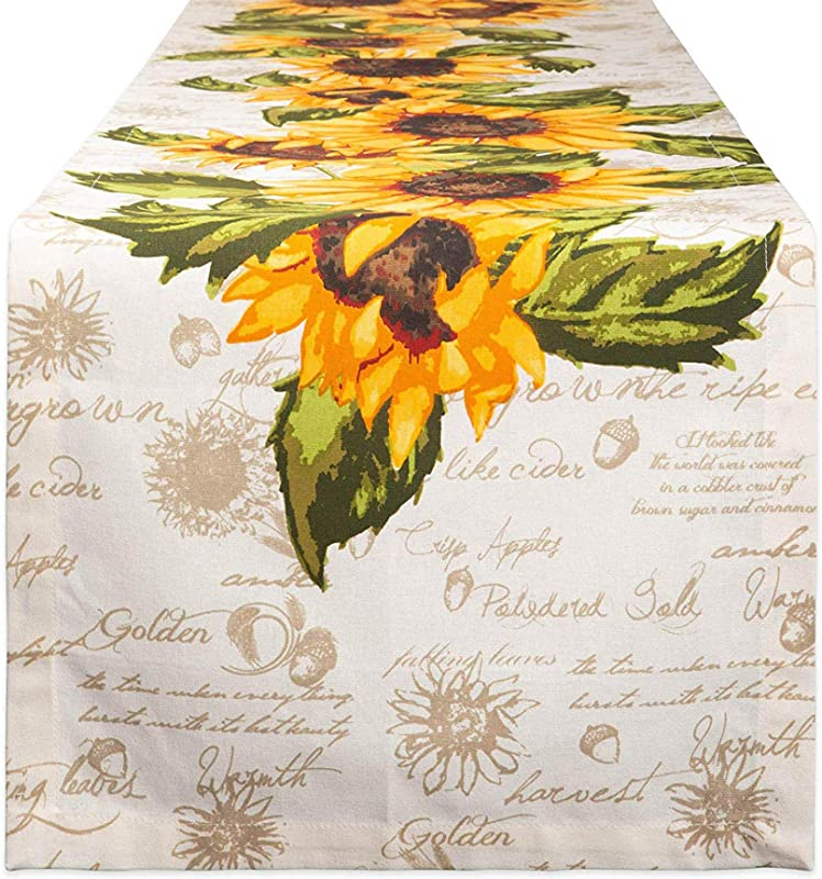 DII Cotton Table Runner For For Dinner Parties Weddings Everyday Use 14x108 Rustic Sunflowers