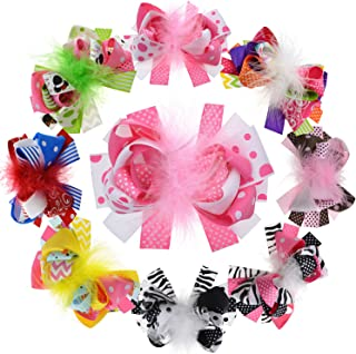 5 Inch Big Feather Ribbon Boutique Bows For Girls Teens Women Stacked Hairbows