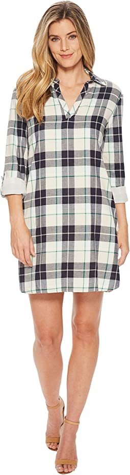 Popover Cotton Plaid Dress