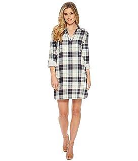 Popover Cotton Plaid Dress