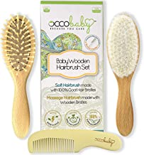 OCCObaby 3-Piece Wooden Baby Hair Brush and Comb Set for Newborns and Toddlers   Natural..