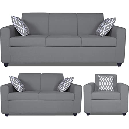 Adorn India Monteno Six Seater 3+2+1 Sofa Set (Grey)