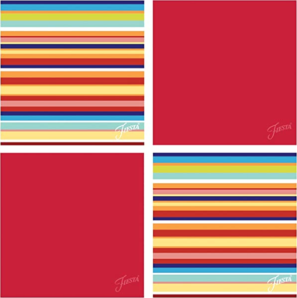 Thirstystone Occasions Fiesta Multi Stripe Scarlet Coaster Set Multicolor