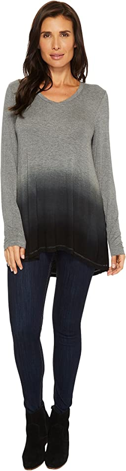 Rayon Spandex Jersey Dip-Dye Back Pleat Long Sleeve Tee