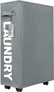 UMI Panier à linge fin sur roulettes, haut à enrouler, pliable, pour vêtements sales, étroit, fin (22 pouces, gris)