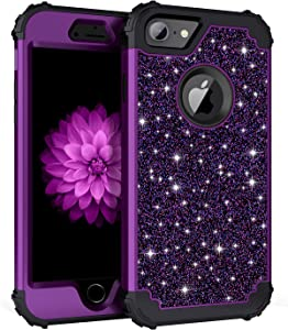 Casetego for iPhone 8 Case,iPhone 7 Case,Shiny Sparkle Bling Heavy Duty Shockproof 3 Layer Hard PC+Soft Silicone Bumper Rugged Anti-Slip Protective Cases for Apple iPhone 8/7,Purple