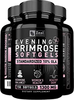 Evening Primrose Oil Capsules (150 Liquid Softgels | 1300mg) 100% Pure Evening Primrose Oil - Natural Supplement to Support Hormone Balance for Women, PMS & Menopause Support - Cold Pressed w. 10% GLA