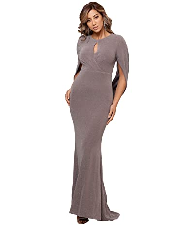 Betsy & Adam Long Metallic Knit Keyhole Gown with Drape Back Sleeve