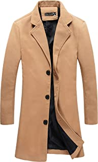 Benibos Mens Trench Coat Slim Fit Notched Collar Overcoat