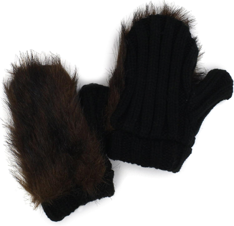 San Diego Hat Little Girls' Faux Fur Gloves