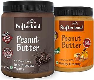 Butterland Peanut Butter Combo | Dark Chocolate Creamy + Natural Honey Creamy | 1.1 kg + 1.1 kg = 2.2 kg | Pack of 2 | Hig...