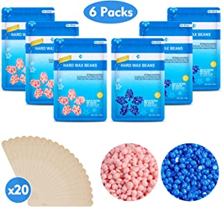 21 Oz Hard Wax Beans Hair Removal Kit, Beautypure Hard Wax Kit Delilatory Wax Beads, Painless Hair Removal Wax Beans for Facial, Brazilian Bikini, Underarms, Back and Chest, Legs with 20 Wax Spatulas