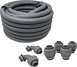 Sealproof Non-metallic Liquid-Tight Conduit and Connector Kit, 1-Inch 25 Foot Flexible Electrical Conduit Type B with 4 Straight and 2 90-Degree Conduit Connector Fittings, 1