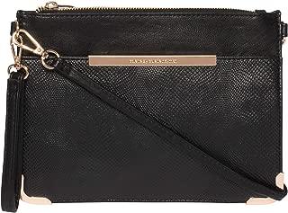 Black Textured Front Pocket Peta Crossbody Bag