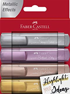 Faber-Castell Metallic Highlighters - 4 Glitter Highlighter Pens for Journaling and Note Taking, Study Supplies
