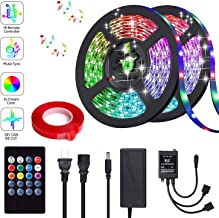KUCOOLIGHT LED Strip Lights, Waterproof 32.8FT/10M 20Key, Music Sync Color Changing, Rope Light 300 SMD 5050 LED, IR Remote Controller Flexible Strip for Home Party Bedroom DIY Indoor Outdoor