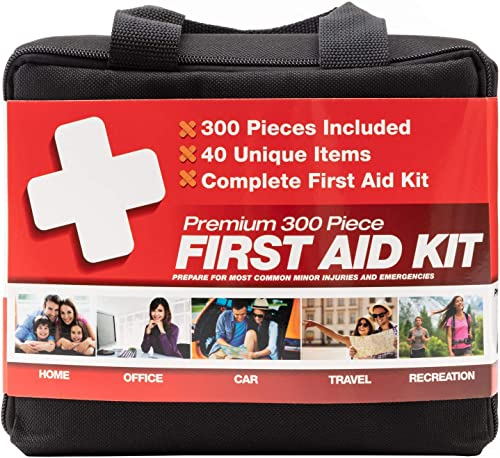 M2 BASICS 300 Piece (40 Unique Items) First Aid Kit | Premium Emergency Kits | Home, Camping, Car, Office, Travel, Ve...