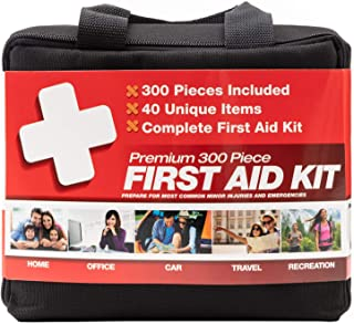 M2 BASICS 300 Piece (40 Unique Items) First Aid Kit | Premium Emergency Kits | Home, Camping, Car, Office, Travel, Vehicle...