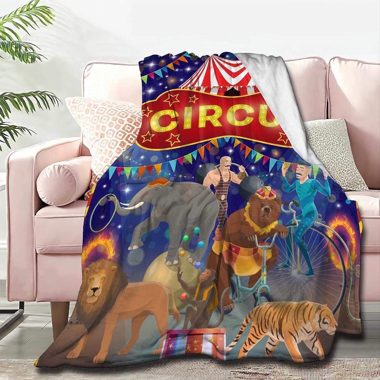 Atthadassi Animal Circus Max 82% OFF Soft Blanket Throw Dallas Mall All Season F