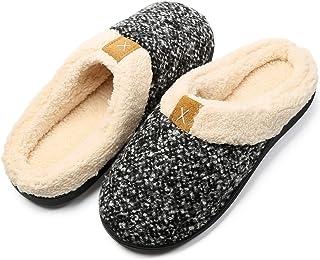 Hsyooes Chaussons Pantoufles Maison Hiver Homme Femme Chausson Peluche Chaud Douce Coton Pantoufles d'intérieur extérieur ...