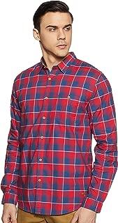 CHEROKEE Men's Checkered Regular fit Casual Shirt (400020222985_Red S)