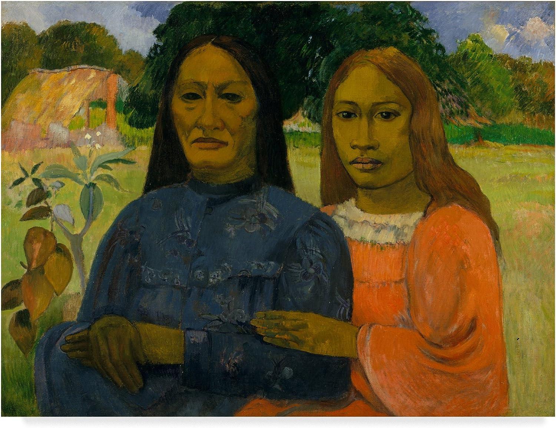 Trademark Fine Art Two Women Or by Paul Gauguin, 14x19, Multicolor