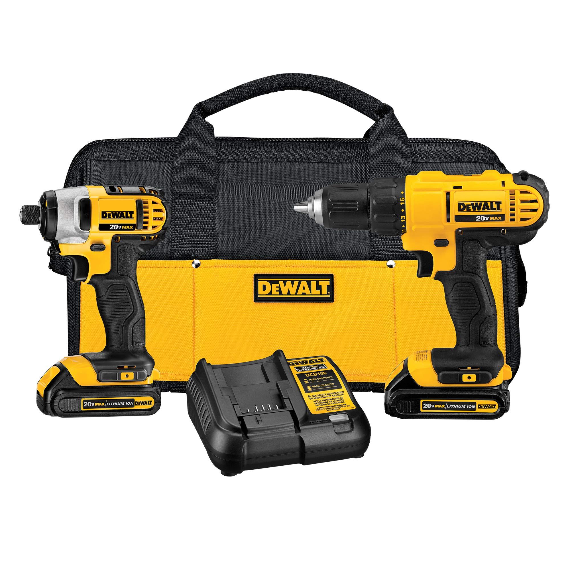 DEWALT 20V Max Cordless Drill Combo Kit, 2-Tool (DCK240C2),Yellow/Black Drill Driver/Impact Combo Kit
