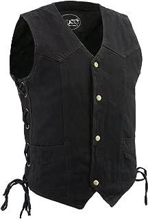 M-Boss Motorcycle Apparel-BOS13003-BLACK-Men's Denim Snap Front Side Lace Vest w/Exterior Gun Pocket-BLACK-5XL
