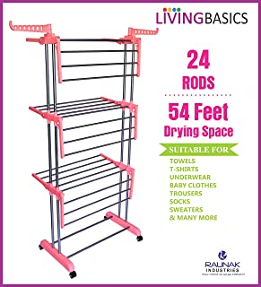 LivingBasics® Heavy Duty Rust-free Stainless Steel Double Pole Cloth Drying Stand/Clothes Dryer Stands/Laundry Racks with ...