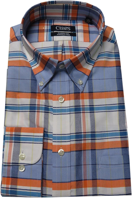 Chaps Men's Performance Classic Fit Plaid Oxford Dress Shirt, Orange